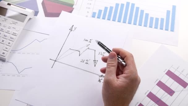Businessman Drawing a Graphic Chart Salesman Analyze Financial Diagram.