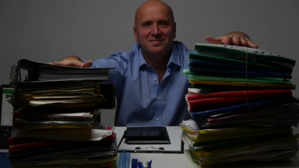 Satisfied Businessman Present Happy His Daily Job with Company Archive Files.