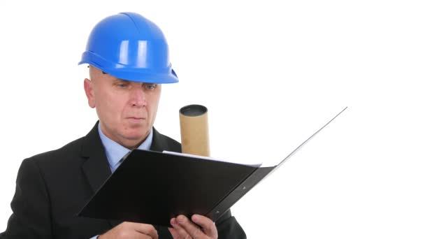 Building Company Businessman Write in File Engineer Check Construction Projects.