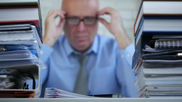 Blurred Businessman Image Checking Accounting Documents Contracts and Invoices
