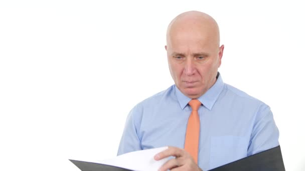 Businessman Image Reading and Writing Business Documents from a Black Folder