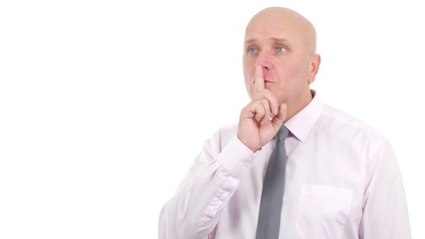 Podnikatel se Silent s rukou znamení uklidni se gesta
