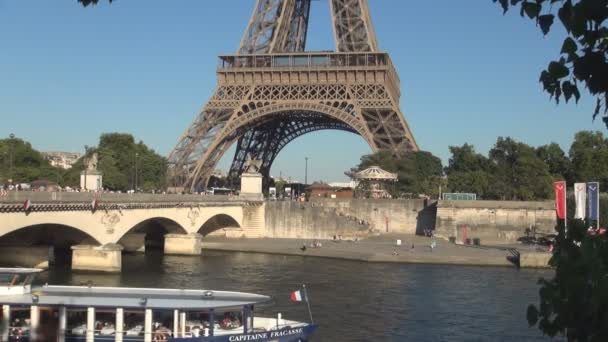eine River Paris Image with Tourist Boat Trip and Eiffel Tower in Background