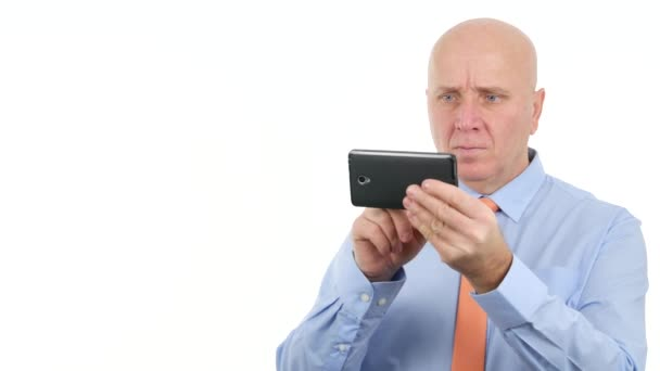 Upset Businessman Reading Bad News on Mobile and Gesturing Nervous