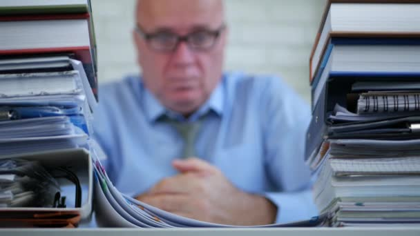 Accountant in Company Office Stay Looking Sad and Thinking Pensive