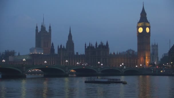 London Night Landscape with Westminster Palace and Bridge Over Thames River