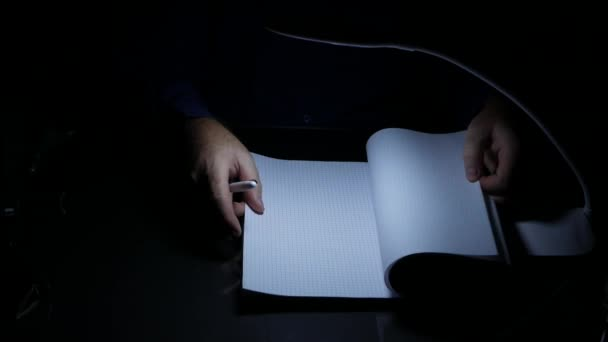 Businessperson in Dark Office Put on The Table Documents and Sign Using a Pen