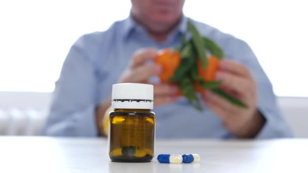 Doctor Examine Fruits Like Alternative to Vitamins Cure with Medicine Pills