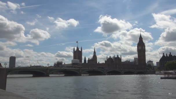 London Downtown Time Lapse with Thames River Big Ben and Westminster Palace