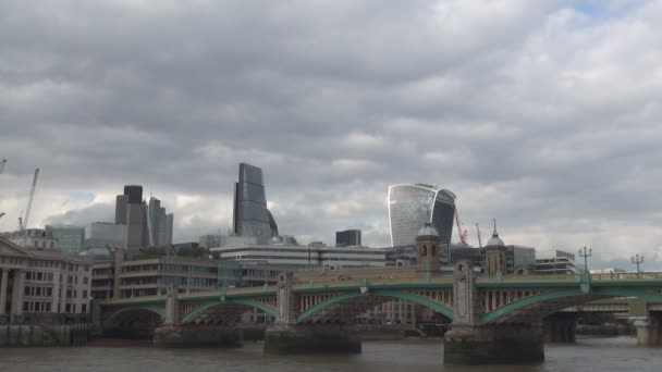 Southwark Bridge in London City Downtown Crossing the Thames River in Cloudy Day
