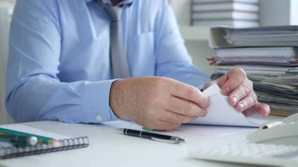 Businessman Job in Office Sorting Documents and Financial Papers for Archive