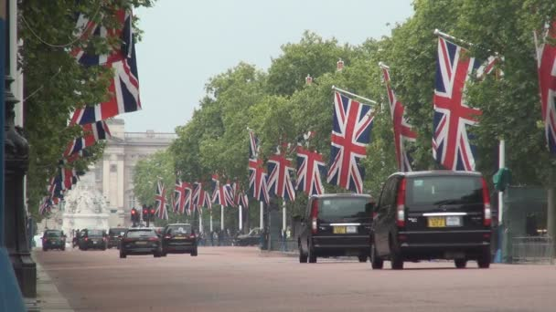 London Avenue Decorated with Great Britain Flags for National Celebration
