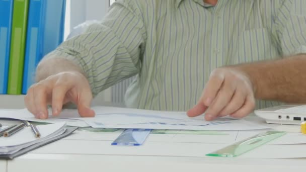 Busy Businessman Select and Arrange Papers Plans Graph and Charts