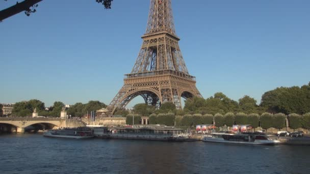 Paris View With Eiffel Tower Seine River and Tourist Boat Traffic