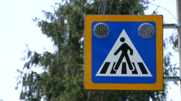 Pedestrian Crosswalk Sign Lighting and Warning Car Drivers to Be Caution