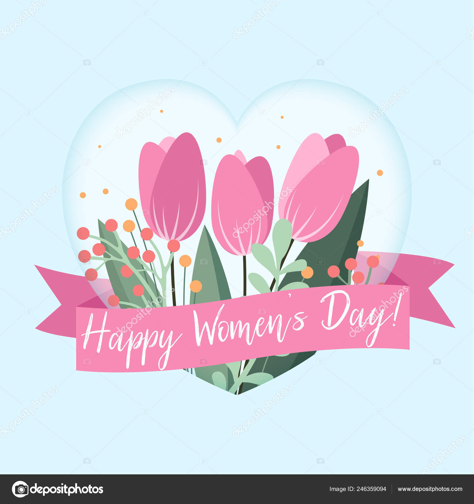 Happy Women Day Greetings Card Floral Elements Elegant Flower Design
