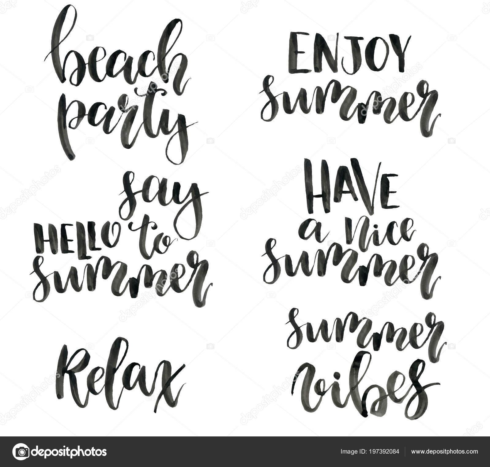 Frases De Letras De Verão Aquarela Calygraphy Conjunto De Pintados