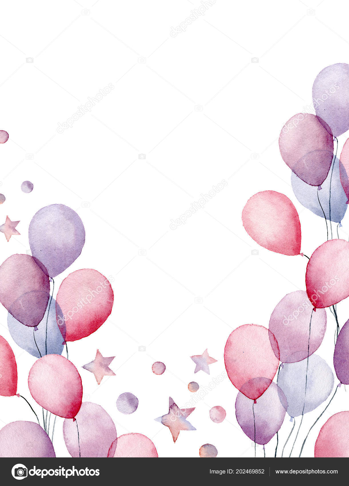 Watercolor Birthday Card Hand Painted Greeting With Air Balloons Stars And Confetti Isolated