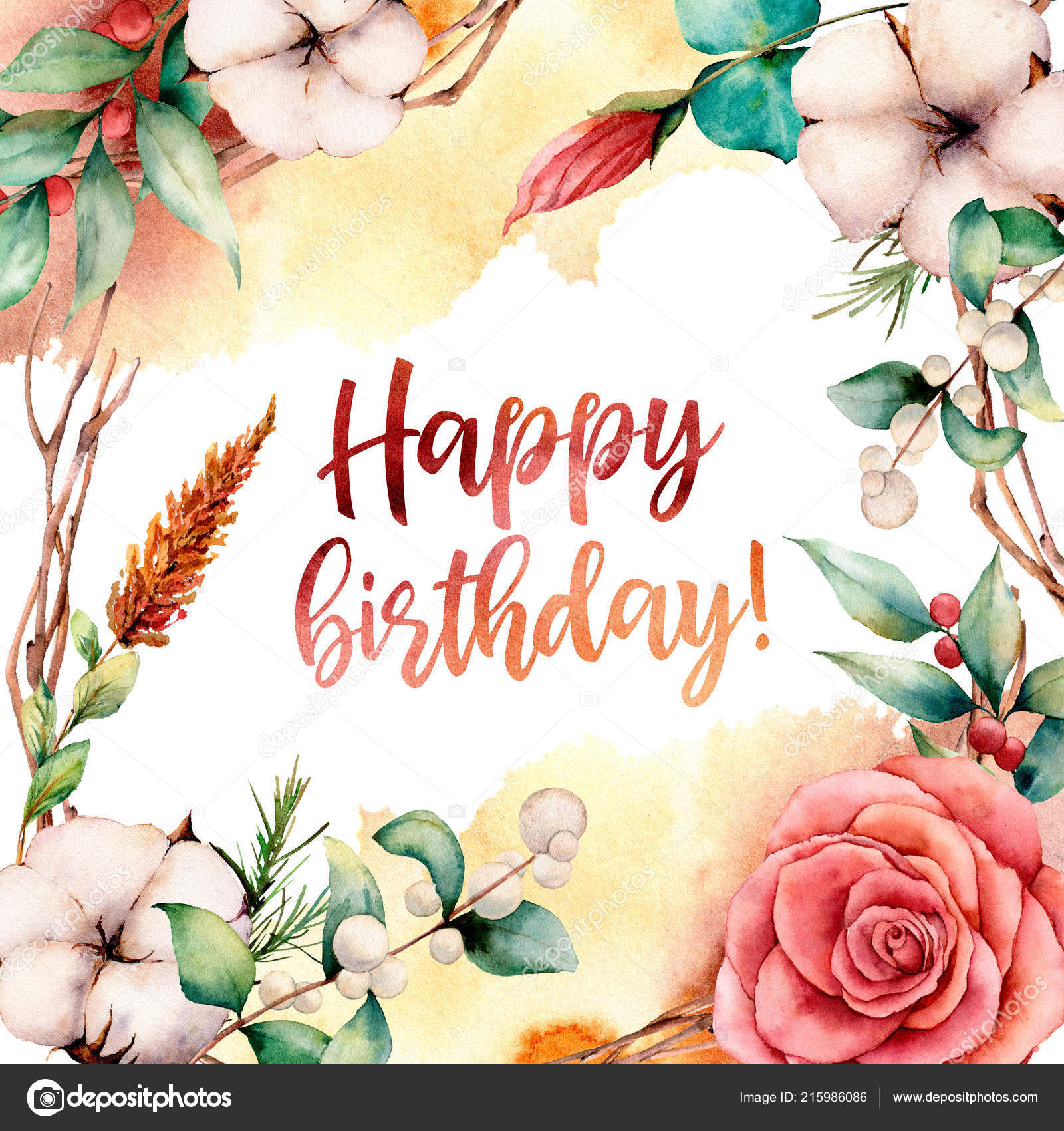 Watercolor Happy Birthday Card With Flowers Hand Painted Tree Border Cotton Branch