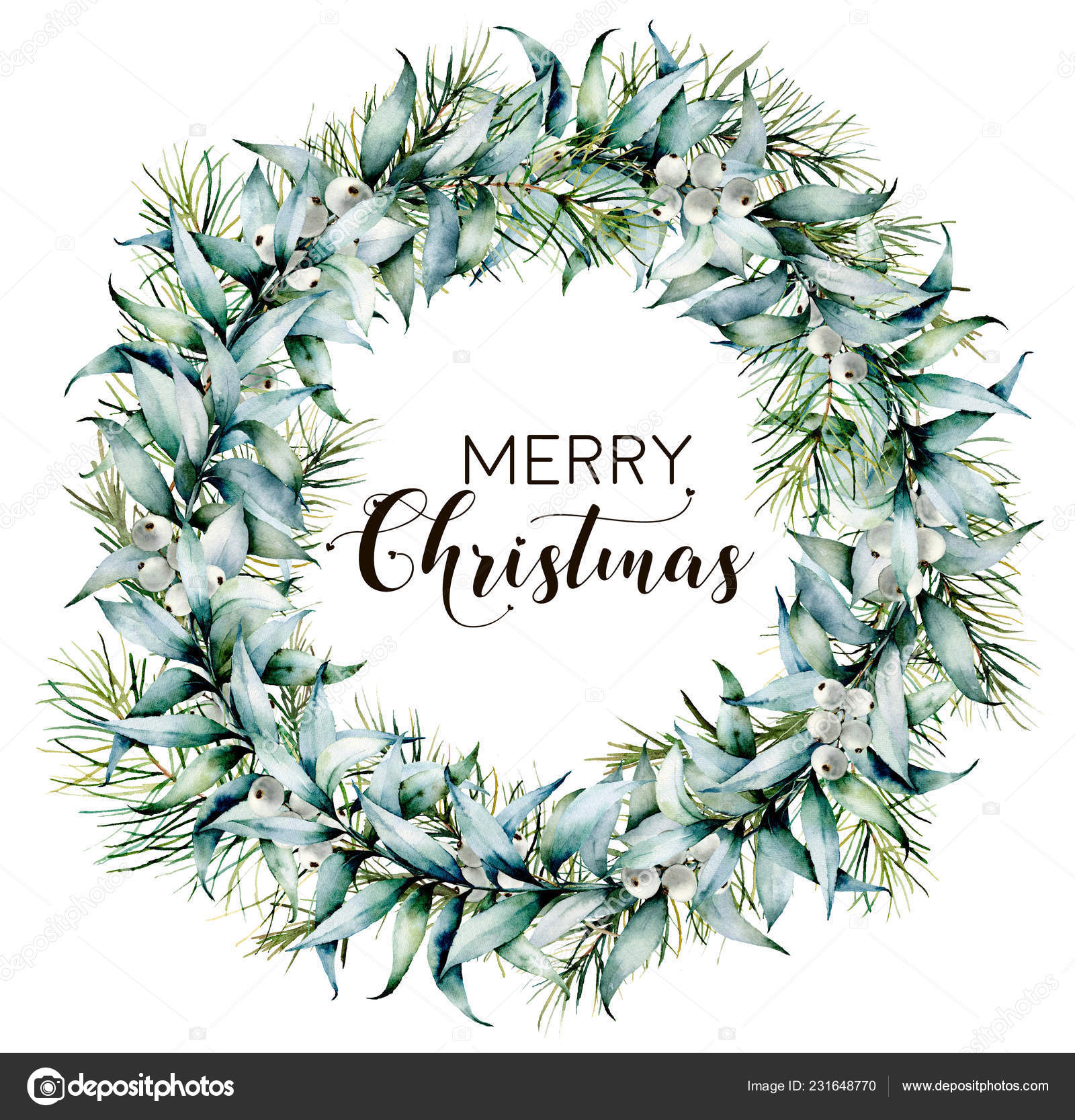 Watercolor Merry Christmas Wreath With Eucalyptus Hand Painted Fir Border With Eucalyptus Leaves And Branches White Berries Isolated On White Background Botanical Floral Print For Design Stock Photo Image By C
