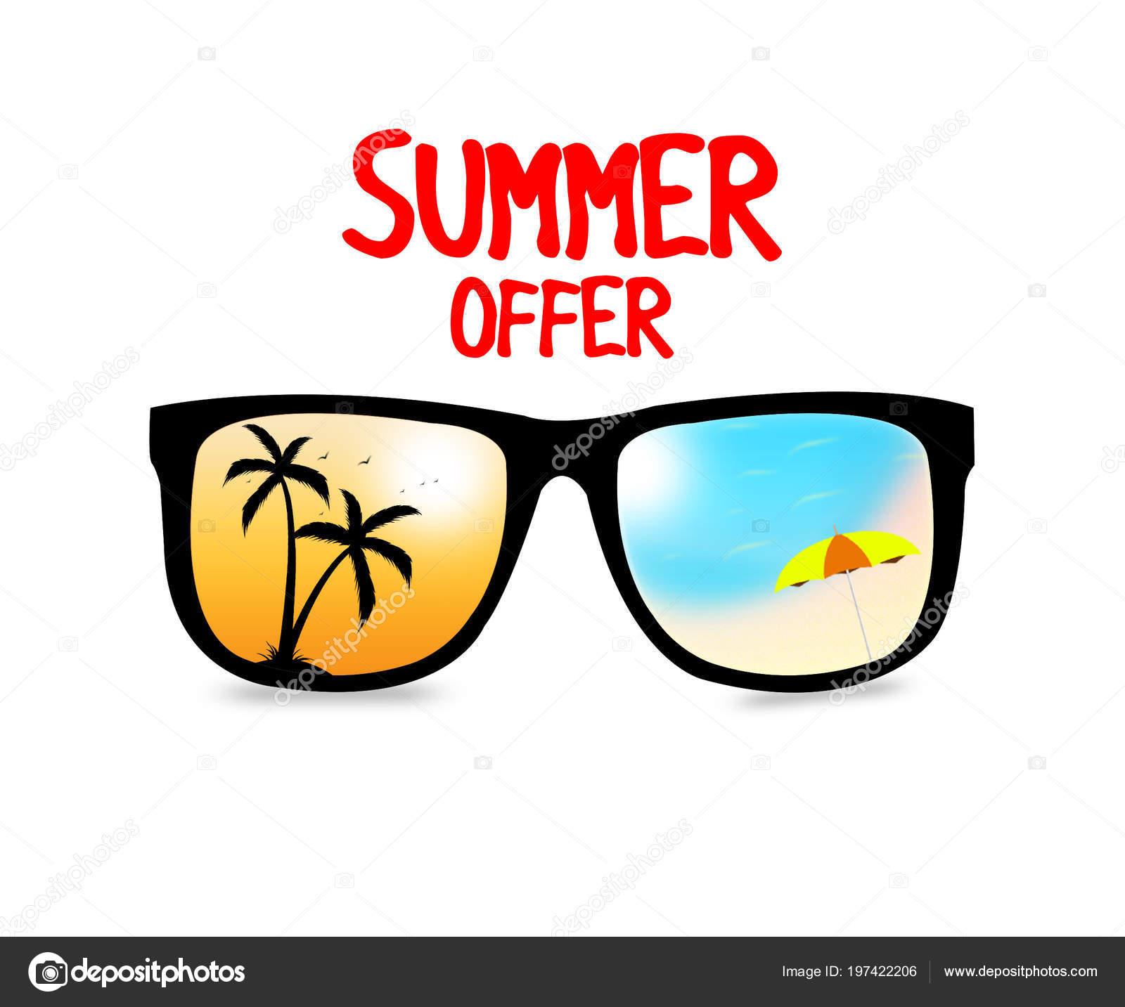 a98169348 Venda Verão Oferecem Banner Com Óculos Sol Legais Fundo Branco — Fotografia  de Stock