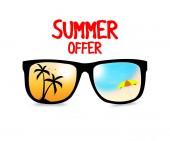 Letní výprodej nabízejí banner s cool brýle v bílém pozadí