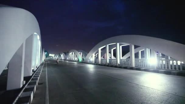 Night view in the White Napier bridge with traffic,Chennai, India.