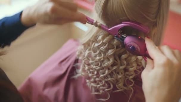 Smiling female hairdresser doing coiffure to pretty young woman with long fair hair in hairdressing salon