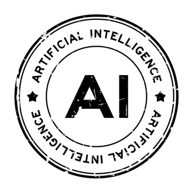Grunge black AI (abbreviation of Artificial intelligence) word round rubber seal stamp on white background