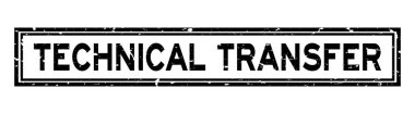 Grunge black technical transfer word rubber seal stamp on white background