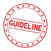 Grunge red guideline word round rubber seal stamp on white background
