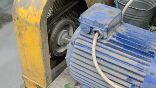 Electric motor turns the shaft