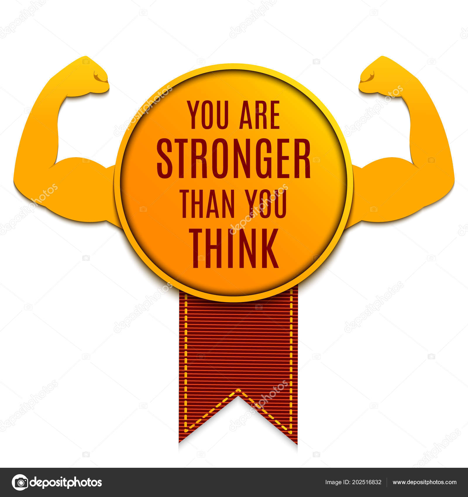 Gold Medal You Stronger You Think Motivational Quote Biceps Muscle