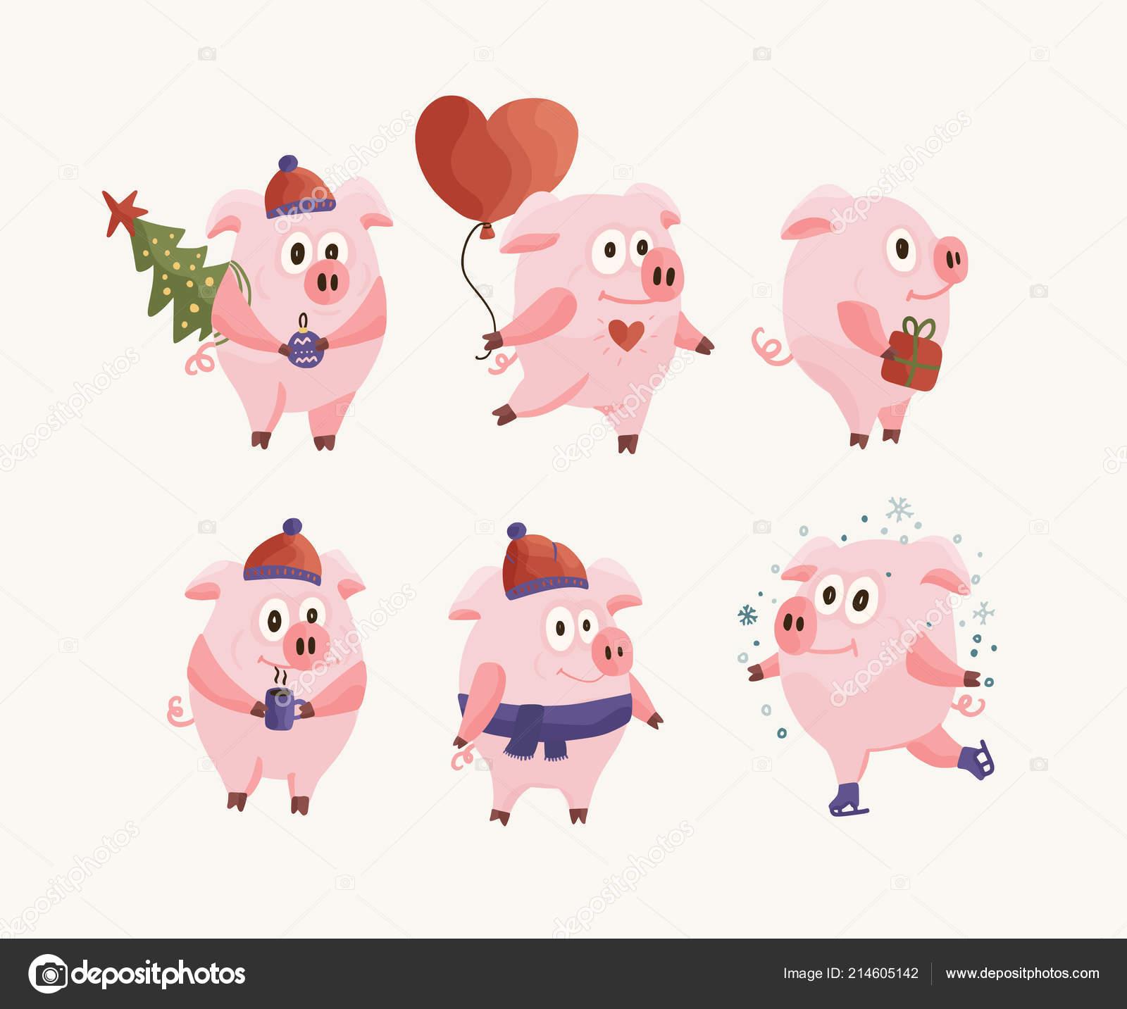neue jahr 2019 set mit weihnachten flach rosa schweine. Black Bedroom Furniture Sets. Home Design Ideas
