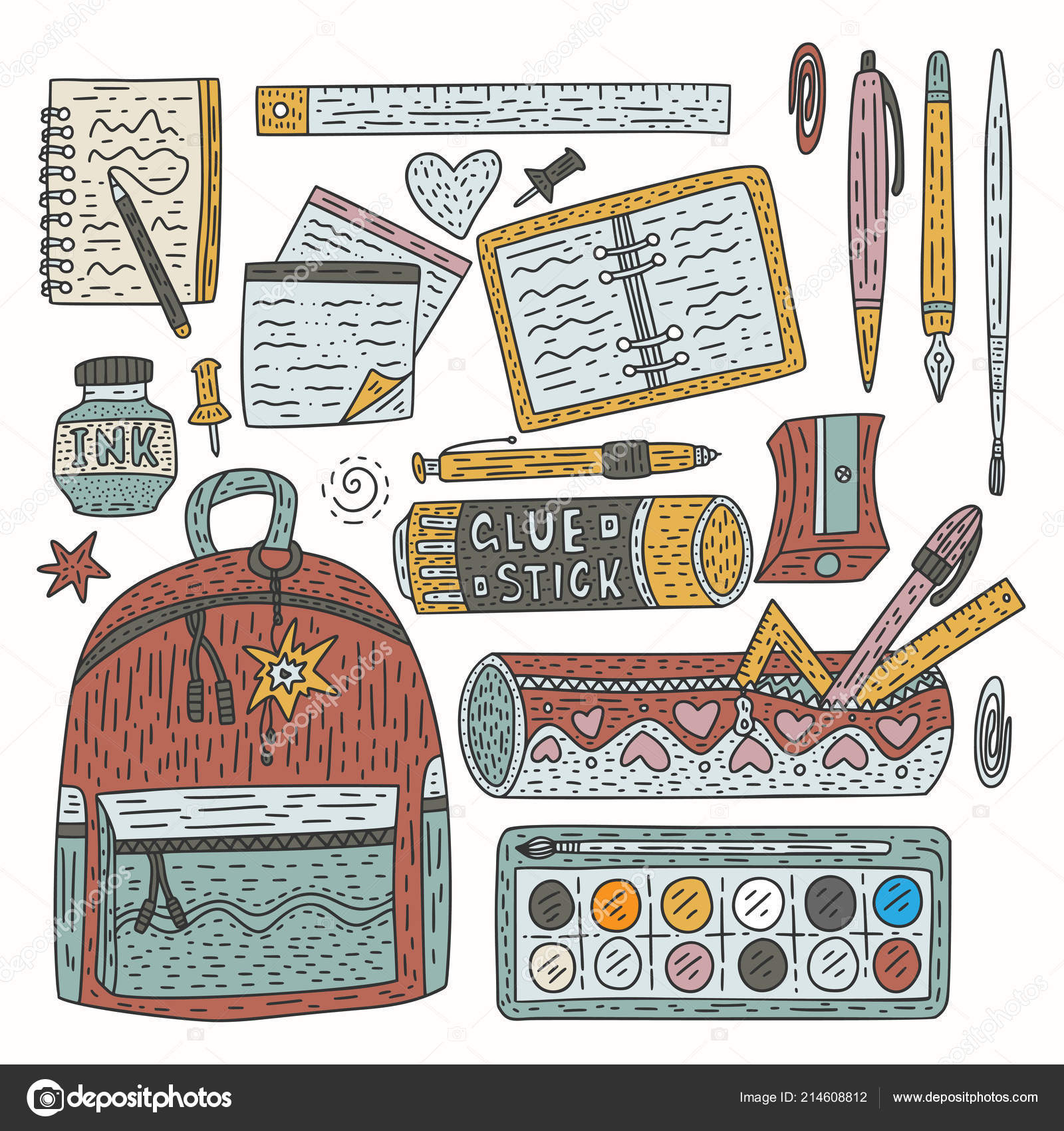 Drawing accessories color vector set  Doodle drawing supplies for