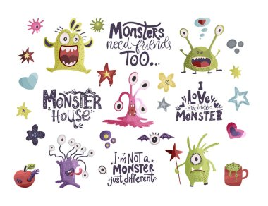 Cute Hand Drawn Monsters Collection Premium Vector Download For Commercial Use Format Eps Cdr Ai Svg Vector Illustration Graphic Art Design