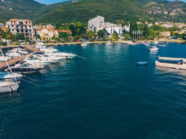 yachts in dock of montenegro port. summer time