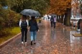 dva žena chůze pod jednou střechou v deštivém podzimní počasí. žluté listy na zem