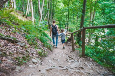 mother with son walking forest trail holding hands