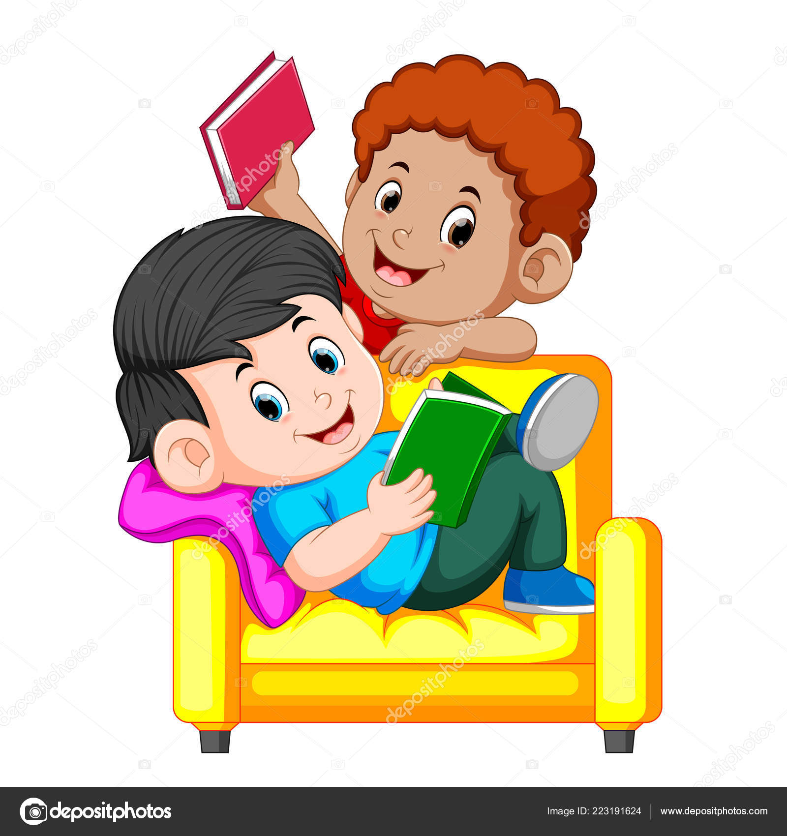 Brilliant Two Boy Reading Book Sitting Big Comfy Chair Stock Vector Gmtry Best Dining Table And Chair Ideas Images Gmtryco