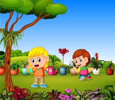 Little girl watering plants and a boy planting in a garden clip art vector