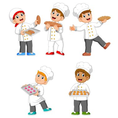 the collection of the chef are holding their bread and cookies