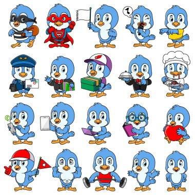 Cute blue bird mascot pack of illustration icon