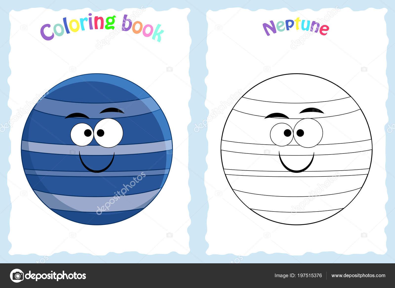 Renkli Neptün Ile Okul öncesi çocuklar Için Kitap Sayfa Boyama