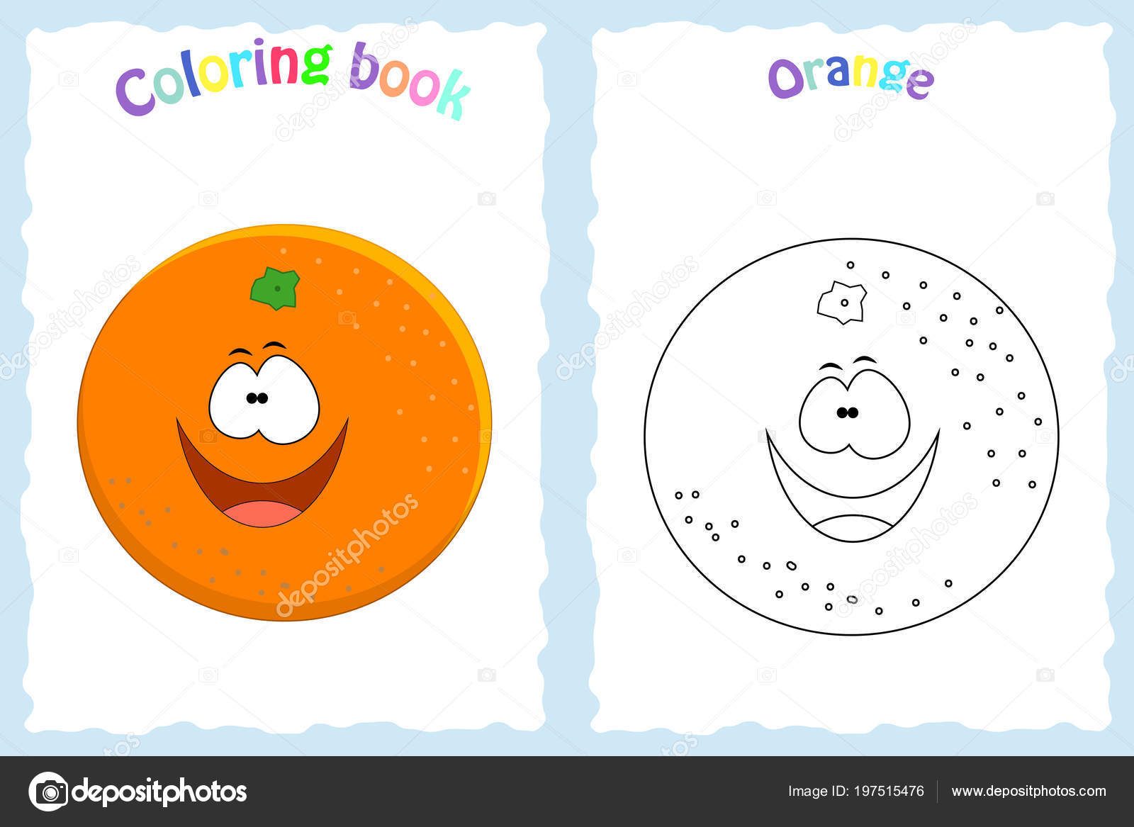 Coloring Book Page For Children With Colorful Orange And Sketc