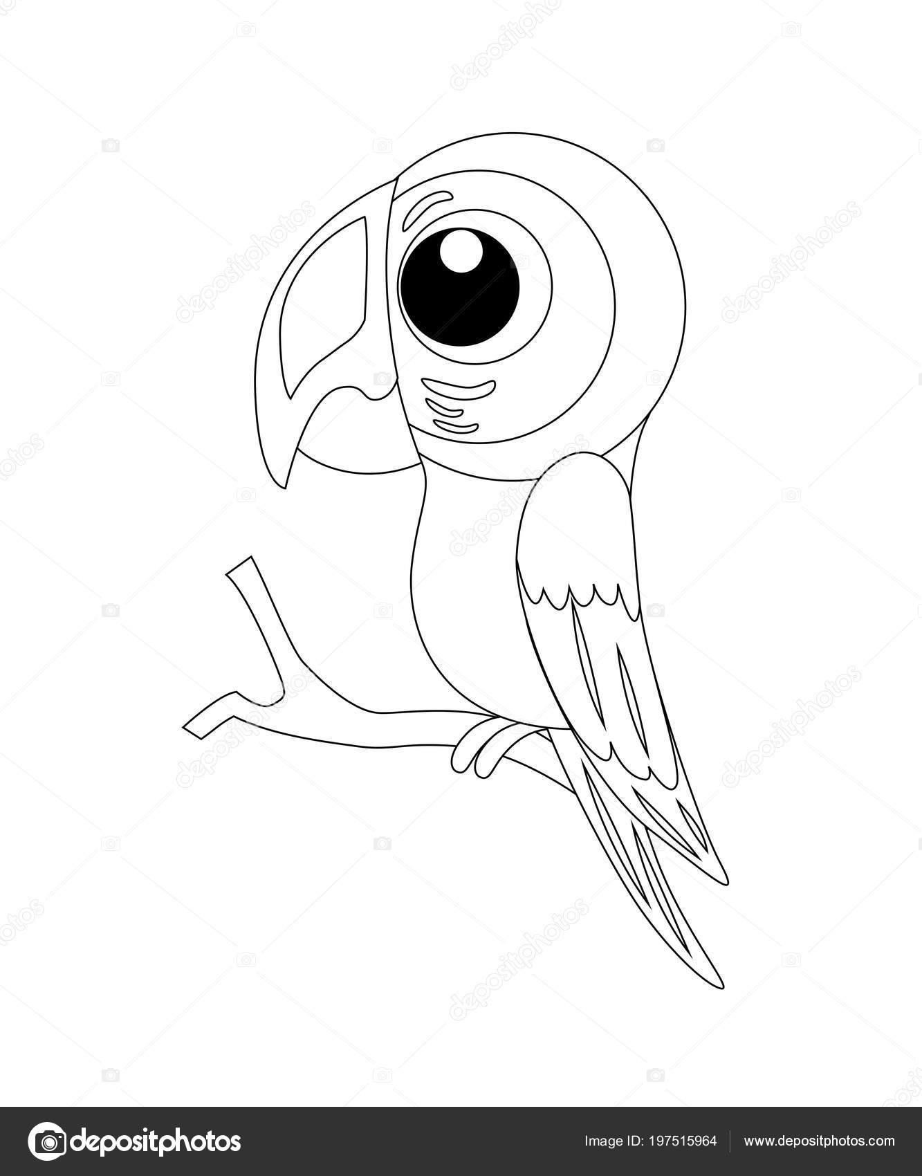 Renksiz Komik Karikatür Papağan Vektör çizim Boyama P Stok