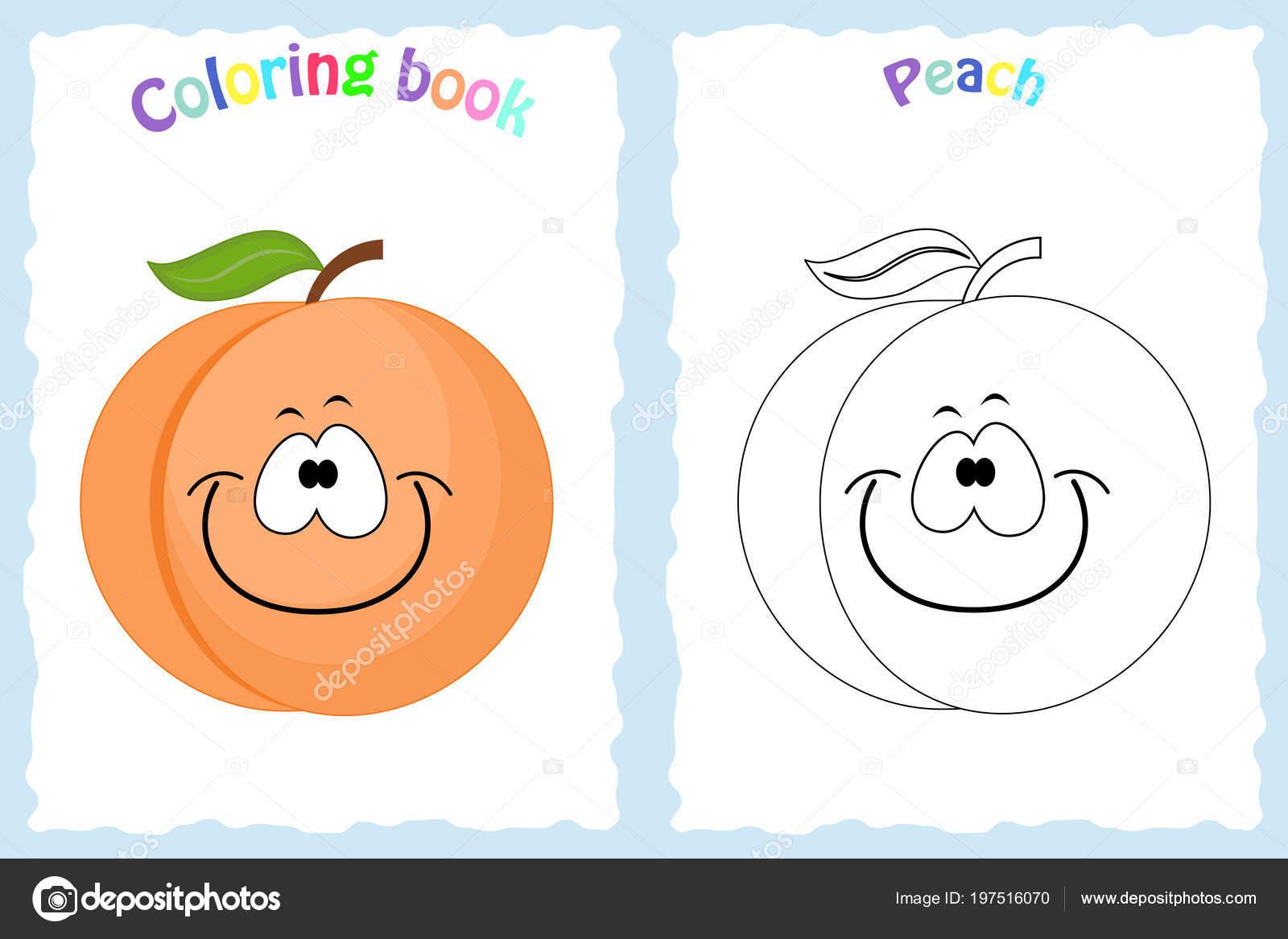Boyama Kitabı Sayfası Renkli şeftali Ve Kroki Olan çocuklar Için