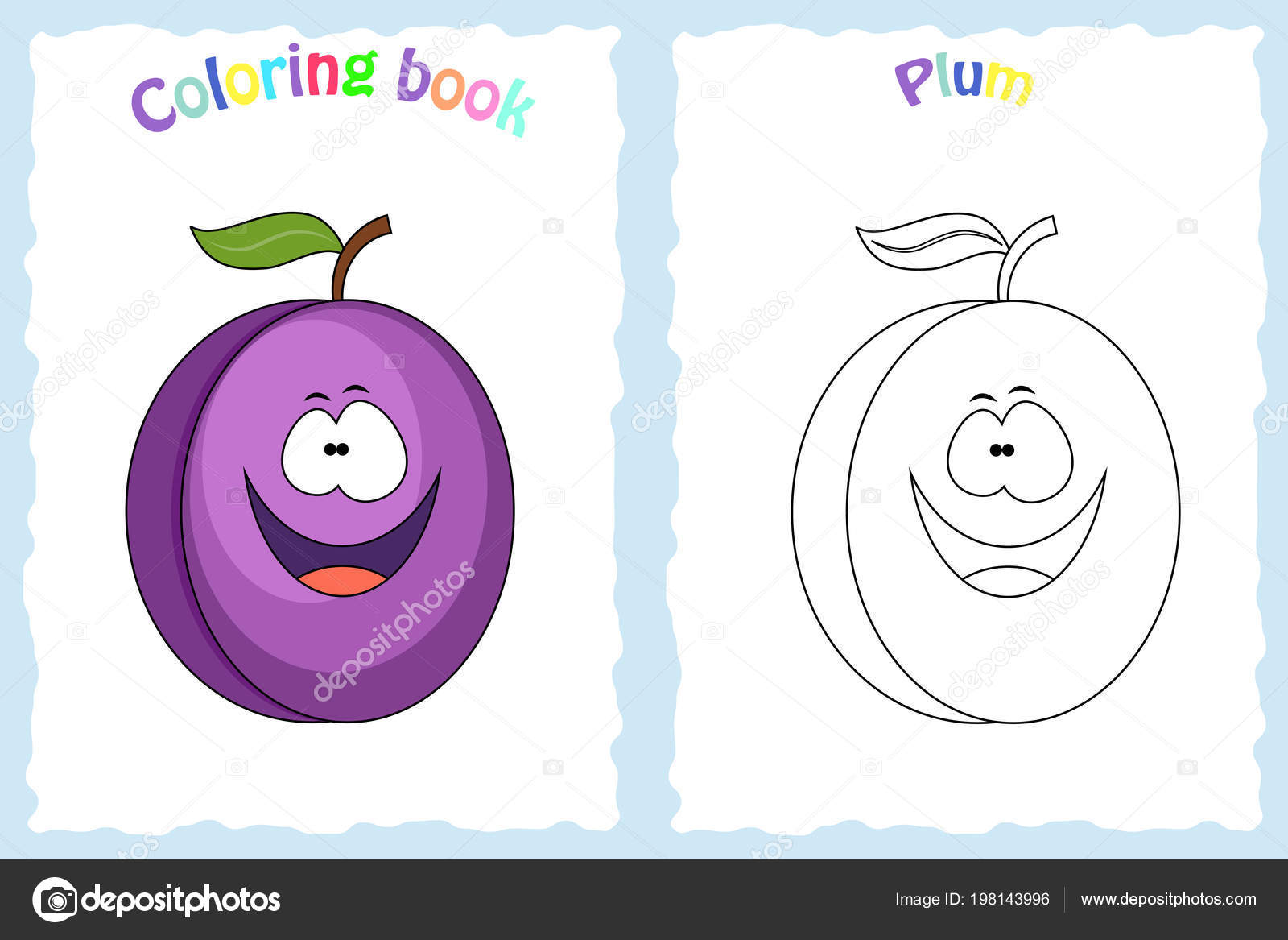 Coloring Book Page For Children With Colorful Plum And Sketch