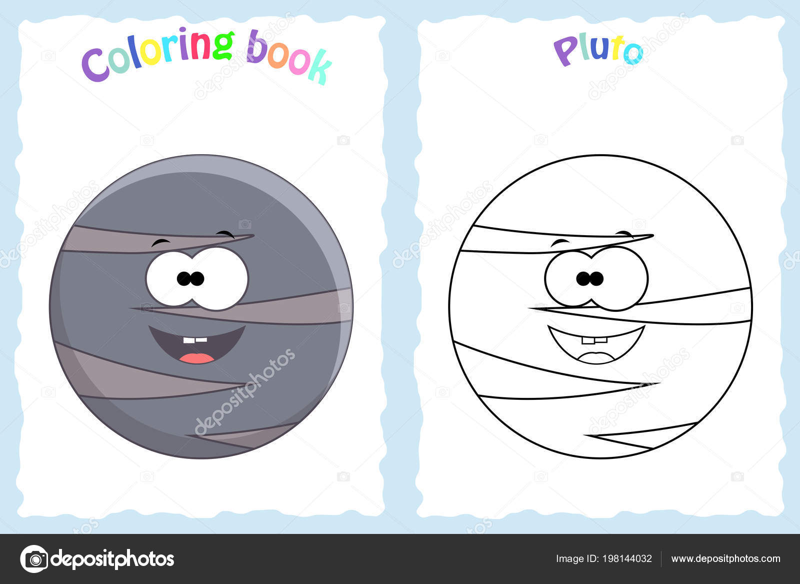 Coloring Book Page For Preschool Children With Colorful Pluto Pl