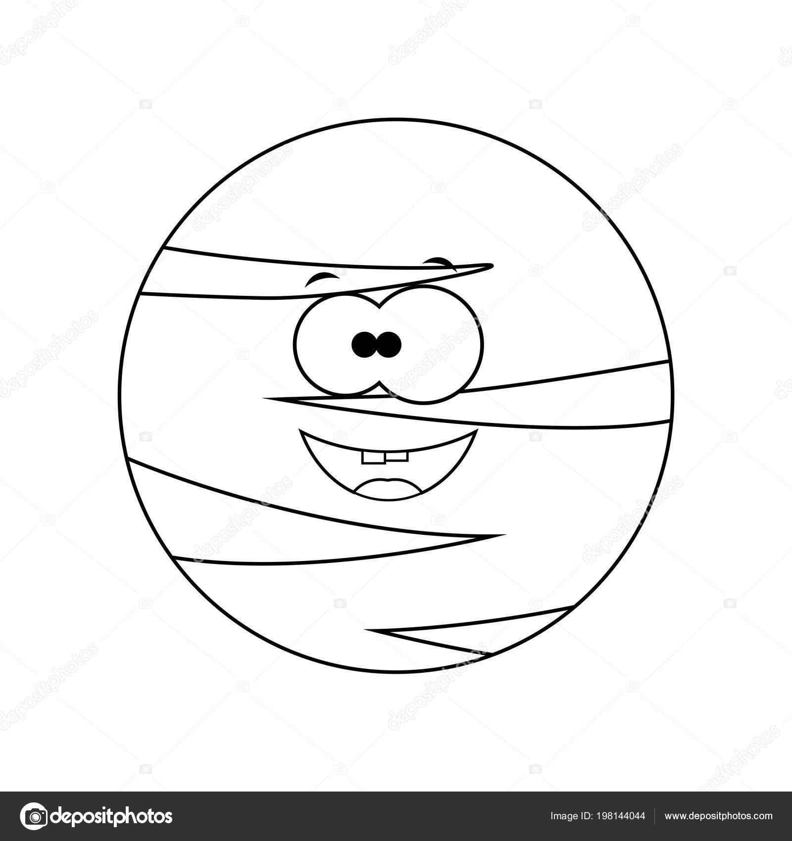 Renksiz Komik Karikatür Plüton Gezegeni Vektör çizim Col Stok